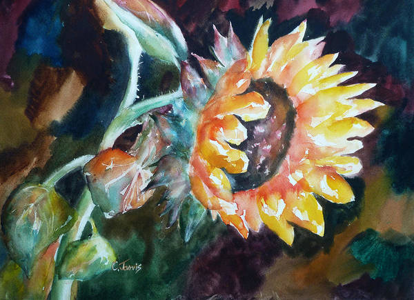 Painting - One Sunflower by Carolyn Jarvis