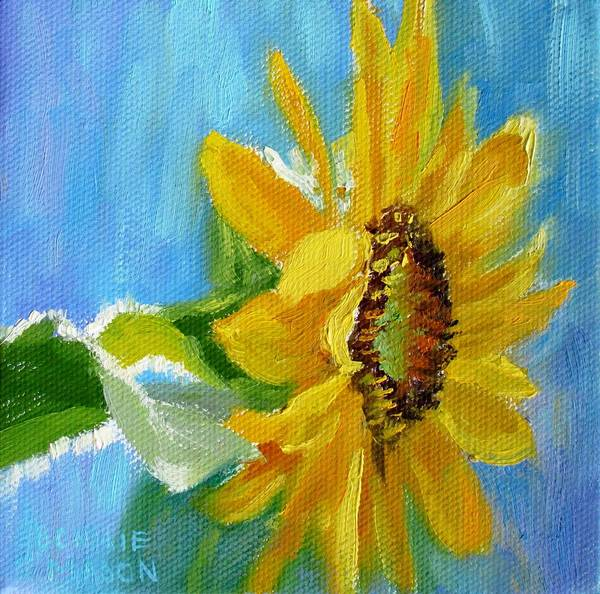 Annual Painting - One Sunflower- With Bright Sunshine From Above by Bonnie Mason