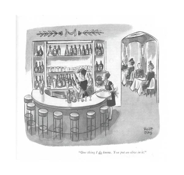 Maid Drawing - One Thing I Do Know. You Put An Olive In It by Robert J. Day