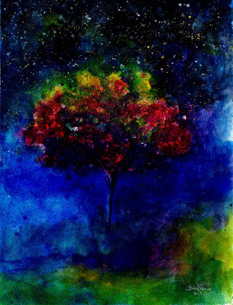 Star Cluster Painting - One Tree In The Universe by Isabel Salvador