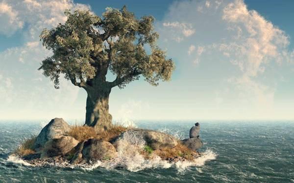Digital Art - One Tree Island by Daniel Eskridge