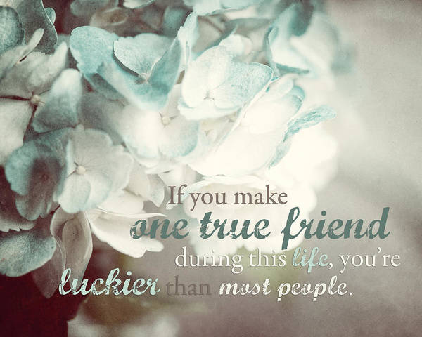 Quotation Photograph - One True Friend Typography Print by Lisa Russo