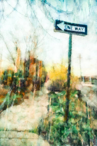 Mixed Media - One Way Sign by Priya Ghose