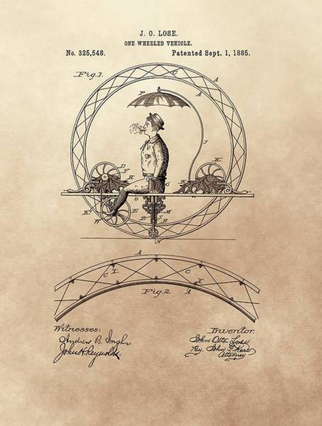 Mixed Media - One Wheeled Vehicle Patent 1885 by Dan Sproul