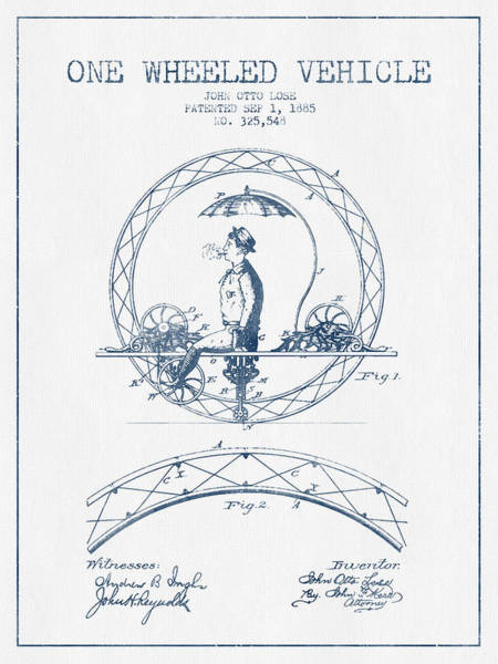 Pedal Car Wall Art - Digital Art - One Wheeled Vehicle Patent Drawing From 1885 - Blue Ink by Aged Pixel