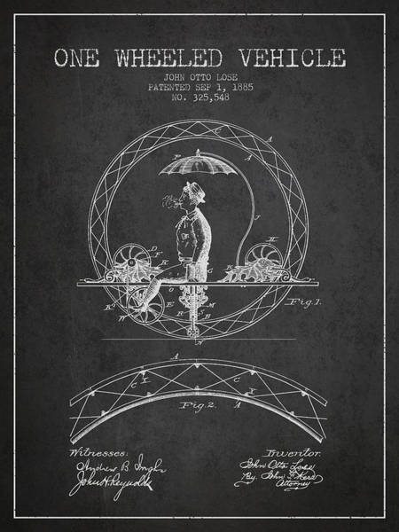 Pedal Car Wall Art - Digital Art - One Wheeled Vehicle Patent Drawing From 1885 - Dark by Aged Pixel