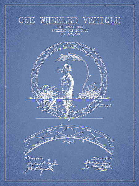 Pedal Car Wall Art - Digital Art - One Wheeled Vehicle Patent Drawing From 1885 - Light Blue by Aged Pixel