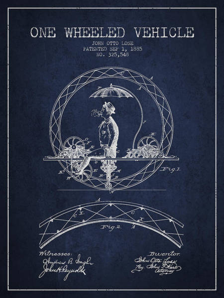 Pedal Car Wall Art - Digital Art - One Wheeled Vehicle Patent Drawing From 1885 - Navy Blue by Aged Pixel