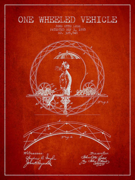 Pedal Car Wall Art - Digital Art - One Wheeled Vehicle Patent Drawing From 1885 - Red by Aged Pixel