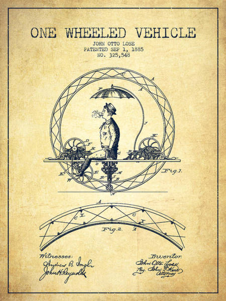Pedal Car Wall Art - Digital Art - One Wheeled Vehicle Patent Drawing From 1885 - Vintage by Aged Pixel