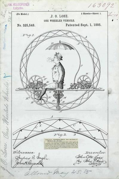 One-wheeled Vehicle Patent Art Print