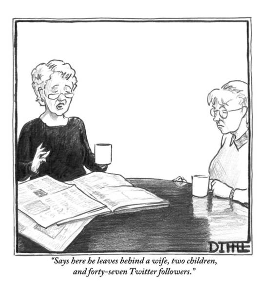 Internet Drawing - One Woman Reads Aloud A Newspaper Obituary by Matthew Diffee