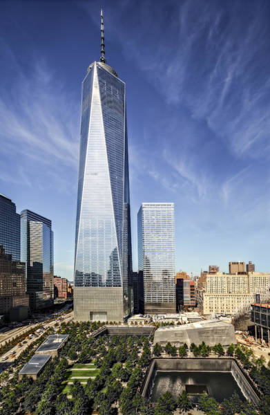Wall Art - Photograph - One World Trade Center Reflecting Pools by Susan Candelario