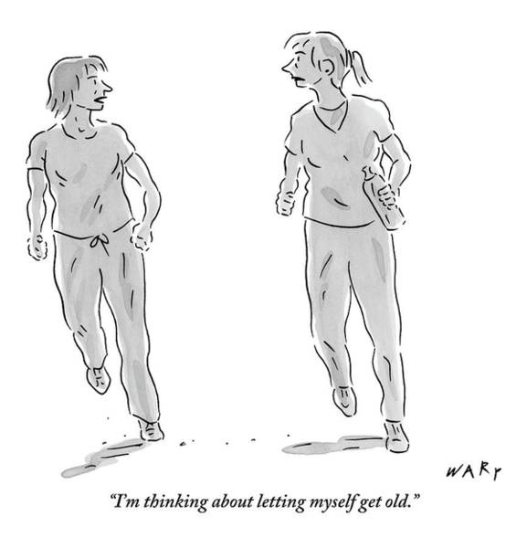 Old Drawing - One Young Woman Says To Another As They Jog by Kim Warp