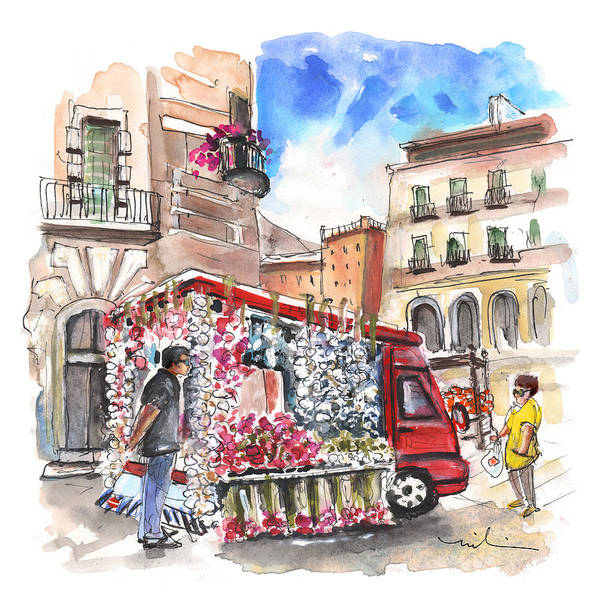 Painting - Onion And Garlic Street Seller In Siracusa by Miki De Goodaboom