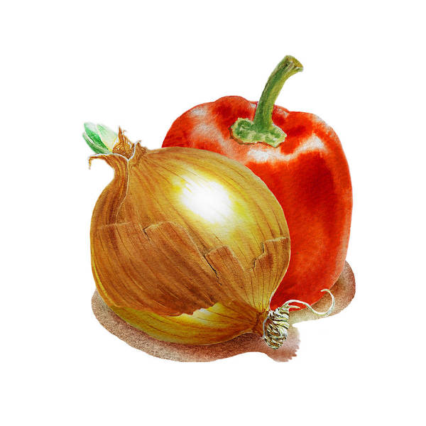 Wall Art - Painting - Onion And Red Pepper by Irina Sztukowski