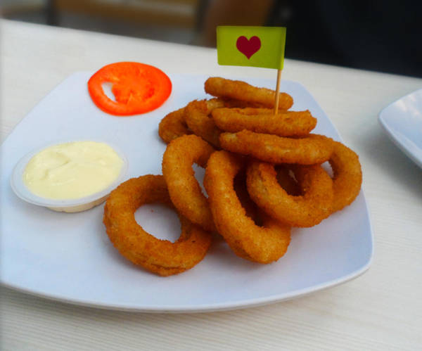 Salad Dressing Photograph - Onion Rings With Mayonnaise And Tomato by Ym Chin