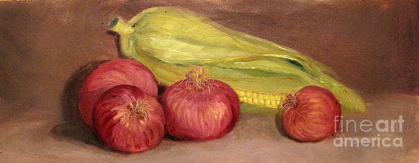 Painting - Onions And Corn by Asha Sudhaker Shenoy