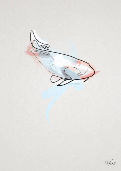 oneline Fish Koi Art Print by Quibe Sarl