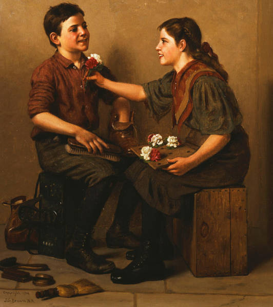 Flirtatious Painting - Only A Nickel Joe by John George Brown