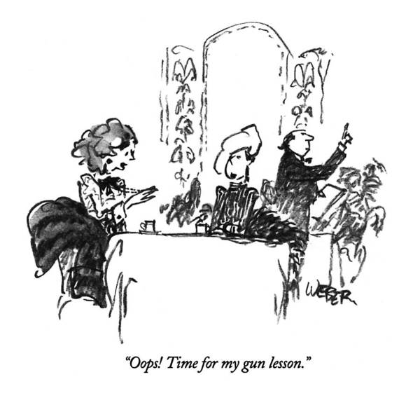 Wealthy Drawing - Oops!  Time For My Gun Lesson by Robert Weber