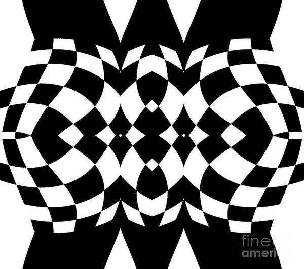 Digital Art - Op Art Geometric Black White Pattern Print No.214 by Drinka Mercep