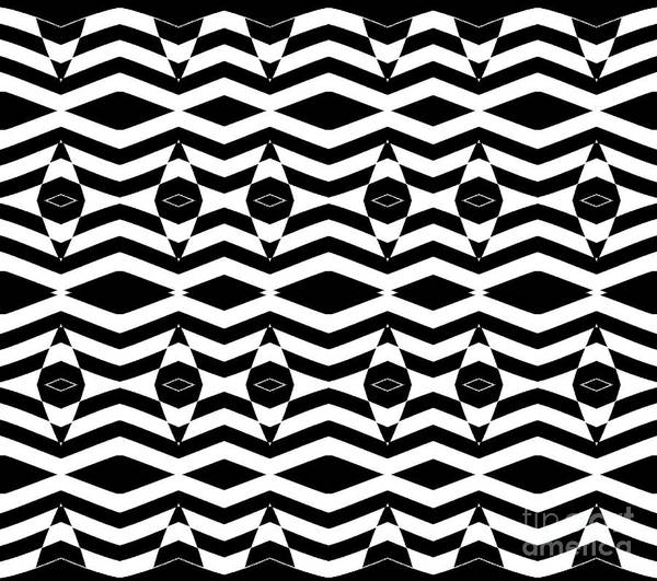 Digital Art - Op Art Pattern Black White Geometric Art No.332. by Drinka Mercep