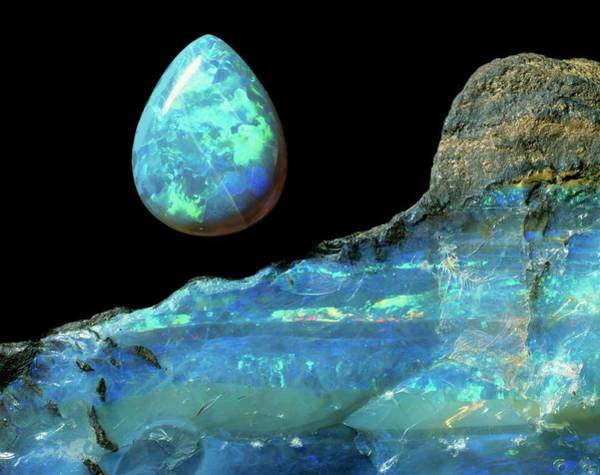Wall Art - Photograph - Opal Gem And Rock by Natural History Museum, London/science Photo Library