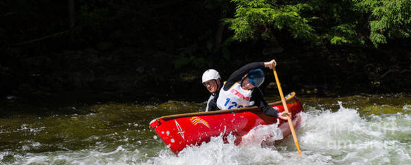 Photograph - Open Canoe Whitewater Race - Panorama by Les Palenik