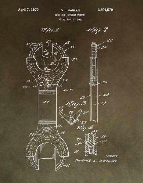 Adjustable Wrench Wall Art - Mixed Media - Open End Ratchet Wrench Patent by Dan Sproul