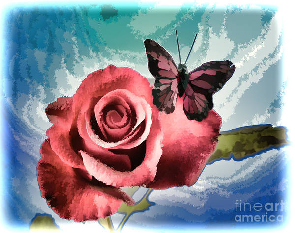 Painting - Open Red Rose Flower Butterfly Painting In Color 3188.02 by M K Miller