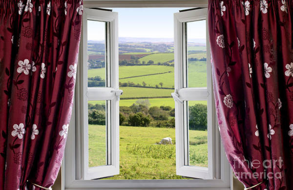 Window Dressing Wall Art - Photograph - Open Window With View Across And English Countryside by Simon Bratt Photography LRPS