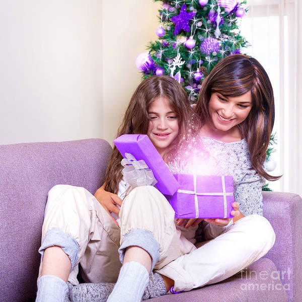 Light Box Photograph - Opening Christmas Present by Anna Om