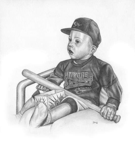 Oriole Drawing - Opening Day by JWB Art Unlimited