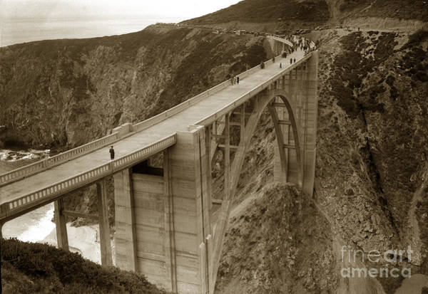 Photograph - Opening Day Of Bixby Creek Bridge Big Sur California 1932 by California Views Archives Mr Pat Hathaway Archives