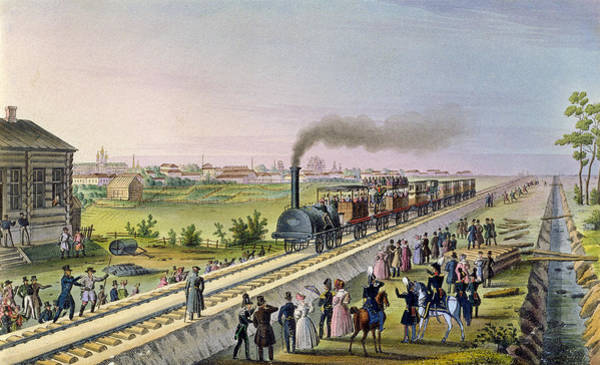 Locomotive Drawing - Opening Of The First Railway Line From Tsarskoe Selo To Pavlovsk In 1837 by Russian School