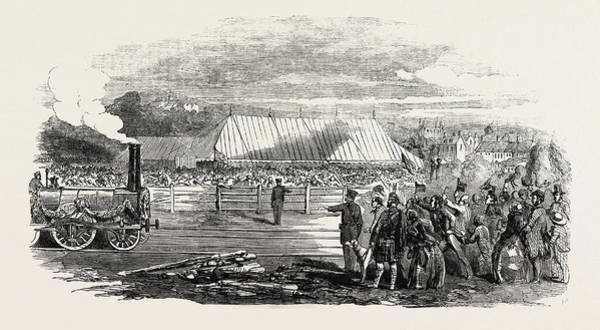 Railroad Station Drawing - Opening Of The Great North Of Scotland Railway The Huntly by Scottish School