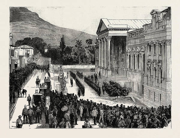 Wall Art - Drawing - Opening Of The New Houses Of Parliament, Capetown by English School