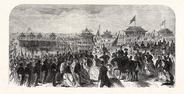 Brighton Pier Drawing - Opening Of The West Pier At Brighton, Uk by English School
