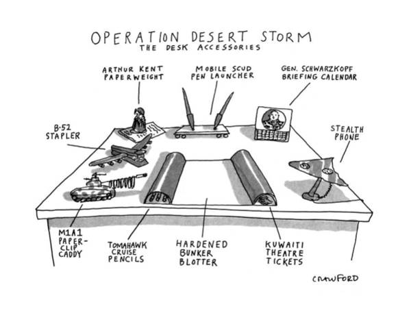 Wall Art - Drawing - Operation Desert Storm The Desk Accessories by Michael Crawford