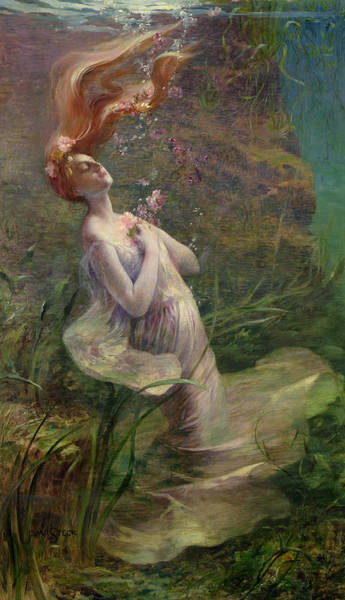 Tragedy Painting - Ophelia Drowning by Paul Albert Steck