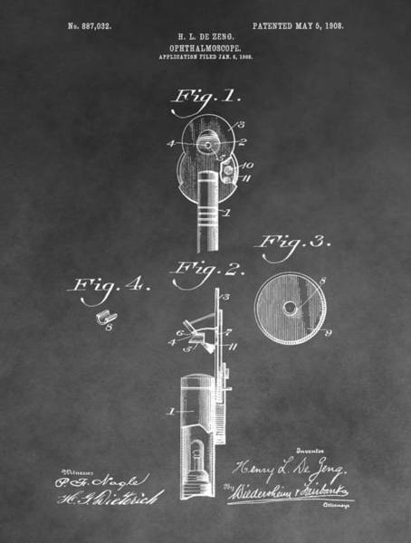 Drawing - Ophthalmoscope Patent by Dan Sproul