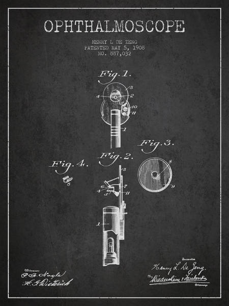 Device Digital Art - Ophthalmoscope Patent From 1908 - Dark by Aged Pixel