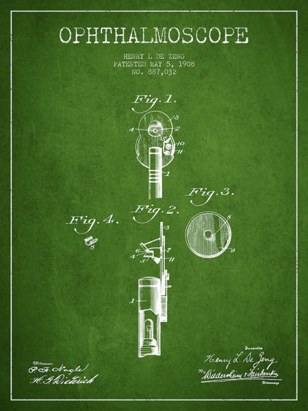 Device Digital Art - Ophthalmoscope Patent From 1908 - Green by Aged Pixel