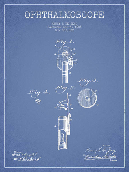 Device Digital Art - Ophthalmoscope Patent From 1908 - Light Blue by Aged Pixel
