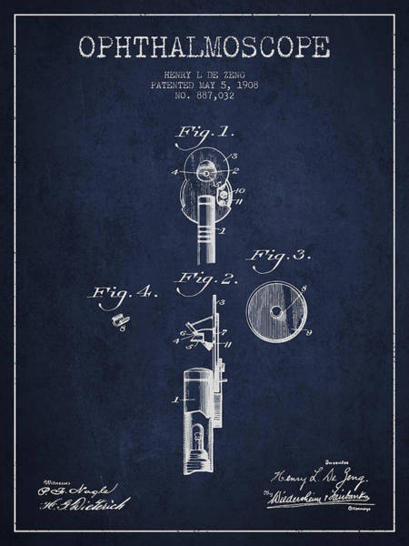 Device Digital Art - Ophthalmoscope Patent From 1908 - Navy Blue by Aged Pixel