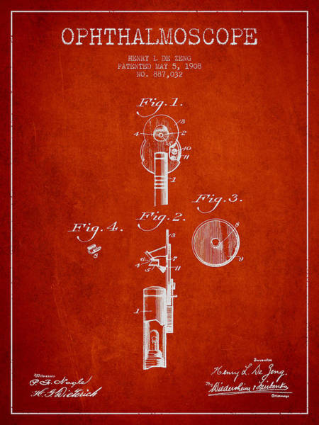 Device Digital Art - Ophthalmoscope Patent From 1908 - Red by Aged Pixel