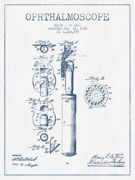 Device Digital Art - Ophthalmoscope Patent From 1915- Blue Ink by Aged Pixel