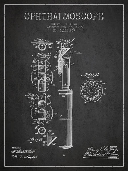 Device Digital Art - Ophthalmoscope Patent From 1915 - Dark by Aged Pixel