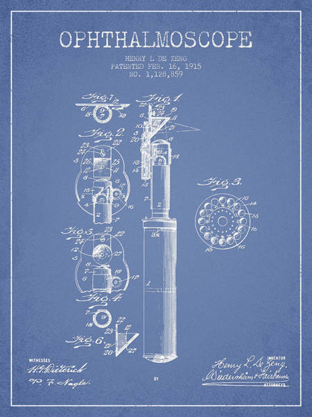 Device Digital Art - Ophthalmoscope Patent From 1915 - Light Blue by Aged Pixel